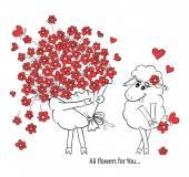Casal apaixonado. duas ovelhas bonitos com grande lindo buquê de flores. idéia para um cartão com o feliz casamento ou dia dos namorados. cartoon desenho ilustração em vetor — Vetor de Stock