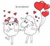 Couple in love. Cartoon Two cute enamored sheep with red hearts  — Stock Vector