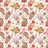 Sweets background. Vector seamless pattern with hand drawn various delicious cupcakes — Stock Vector