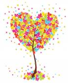 Love art tree heart shape with butterflies on white background. — Stock Vector
