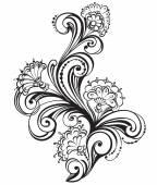 Hand drawn floral black and white Design Elements. Vector Illustration — Stock vektor
