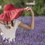 Woman in lavender field — Stock Photo #56378045