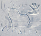 Snow with lettering I love winter — Foto de Stock