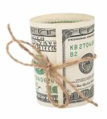 Banknote hundred dollars, tied with a rope with a bow — Stock Photo