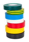 Multicolored insulating tapes roll — Stock Photo