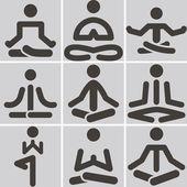 Iconos de yoga — Vector de stock