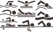 Swimming icons — Stock Vector