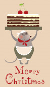 Christmas mouse cooke with cake — Vector de stock