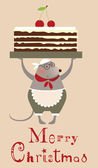 Christmas mouse cooke with cake — Stock vektor