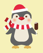 Christmas penguin with ice cream — Stock Vector