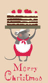 Christmas mouse cooke with cake — Stock Vector
