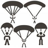 Parachute sport icons — Wektor stockowy