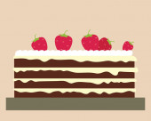 Cake with strawberry — Stock Vector
