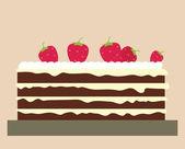 Торт с клубникой — Cтоковый вектор