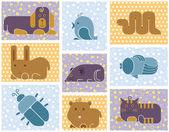 Zoo animals icons — Stock Vector