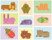 Icônes d'animaux de zoo — Vecteur