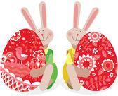 Dos conejo de Pascua — Vector de stock