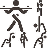 Aerobics icons set — Stock Vector