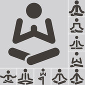 Yoga icons set — Stock Vector