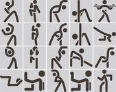 3159 - aerobics icons set — Stock Vector