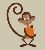 Monkey with book — Stock Vector