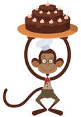 Monkey met cake — Stockvector