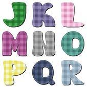 Scrapbook colorful checkered alphabet — Stock Vector