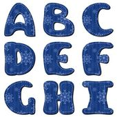 Scrapbook alphabet with snowflakes — Stock Vector