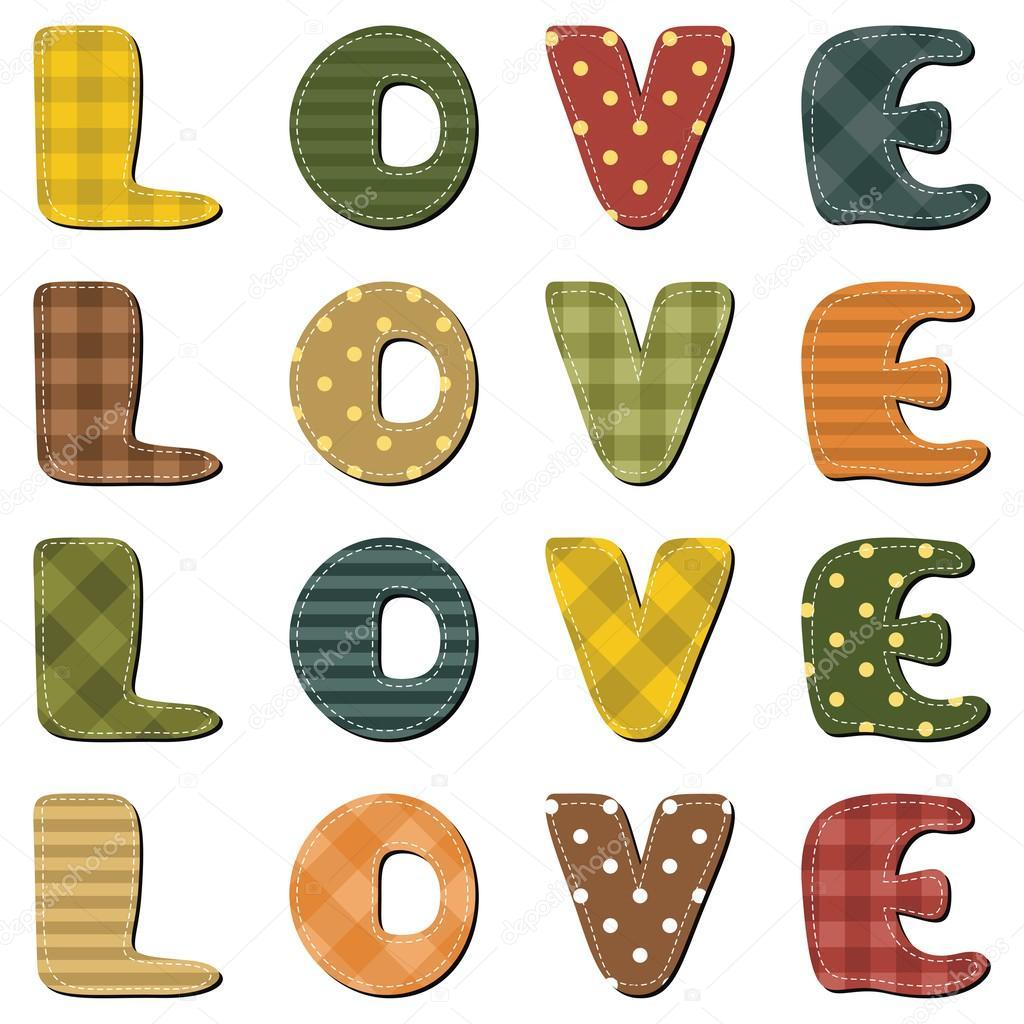 How to scrapbook words - Scrapbook Love Words Stock Vector 53674349
