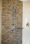 Bathroom Shower with Dual Shower Heads and Glass Enclosure. — Stock Photo