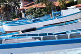 Fishing boats in small europe town — Stock Photo
