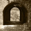 Entrance to fortress. An arch in a fortification wall. — Stock Photo #68787433