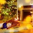 Girl sleeping under Christmas tree — Stock Photo #52801723