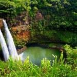 Twin Wailua waterfalls on Kauai — Stock Photo #60259175
