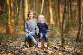 Hermanitas en bosque — Foto de Stock