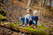 Little sisters in forest — Stock Photo