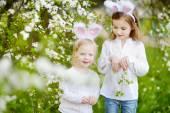 Two little girls in Easter bunny ears — Foto de Stock