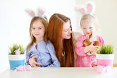 Little girls and mother in Easter bunny ears — Stock Photo