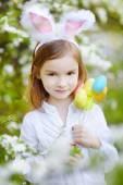 Little girl wearing Easter bunny ears — Foto de Stock