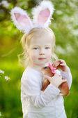 Girl wearing Easter bunny ears — Stock Photo