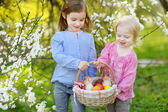 Little sisters with Easter eggs in basket — Foto de Stock