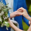 Bride putting wedding ring on groom finger — Fotografia Stock  #65361107