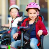 Little sisters with bike — Stock Photo