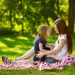 Young mother and daughter in park — Stock Photo #68759847