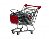 Shopping cart with a computer mouse — Stock Photo