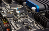 Electronic collection - digital components on computer mainboard — Stock Photo