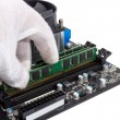 Electronic collection - Installing memory module in DIMM slot on — Stock Photo #66872145