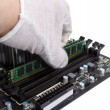 Electronic collection - Installing memory module in DIMM slot on — Stock Photo #68093875