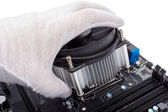 Electronic collection - Installing CPU cooler — Stock Photo