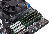 Electronic collection - Computer motherboard with CPU cooler — Stock Photo